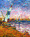 Children at Seashore 1970 30x24 Original Painting by Marco Sassone - 0