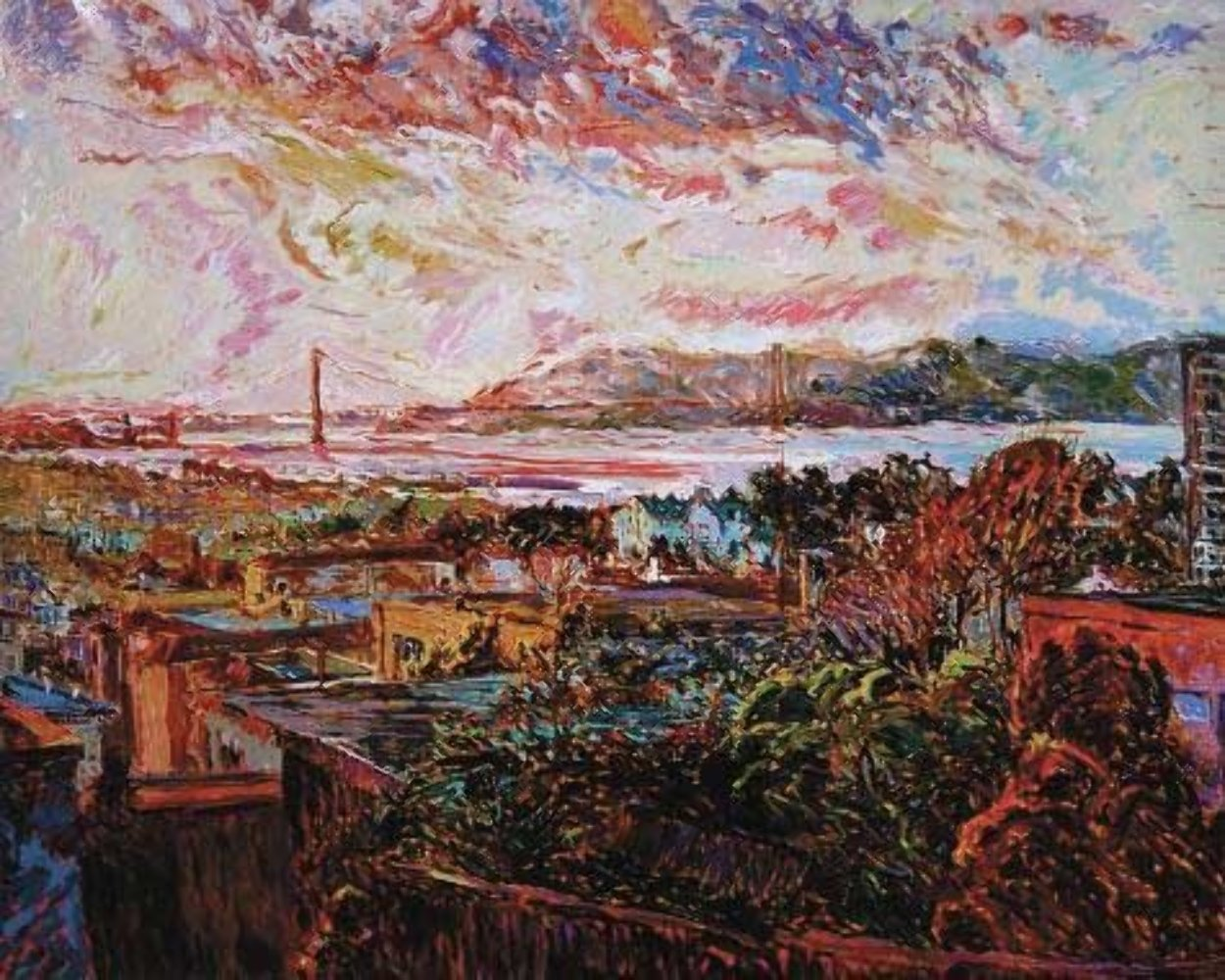 San Francisco Marina Dusk 1986 Limited Edition Print by Marco Sassone