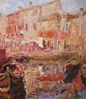 Burano, Italy 1995 50x45 Super Huge Original Painting - Marco Sassone