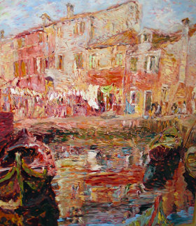 Burano, Italy 1995 50x45 Original Painting by Marco Sassone