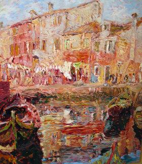 Burano, Italy 1995 50x45 Original Painting by Marco Sassone