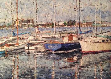 Marina, California 1968 25x31 (Early) Original Painting - Marco Sassone