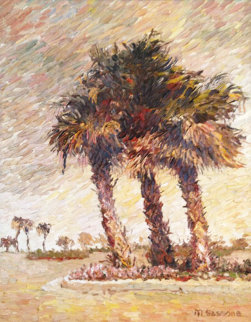Palms 1970 37x31 Original Painting - Marco Sassone