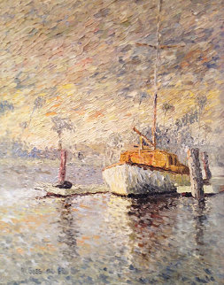 Sailboat At Dock 1968 37x31 Original Painting - Marco Sassone
