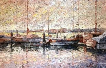 Barche a Sera 1968 32x44 Original Painting - Marco Sassone