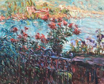 Tiburon Terrace 32x27 California Original Painting - Marco Sassone