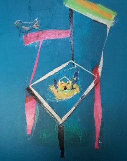 Ocell And Cadira 1995  45x52 Original Painting by Regina Saura