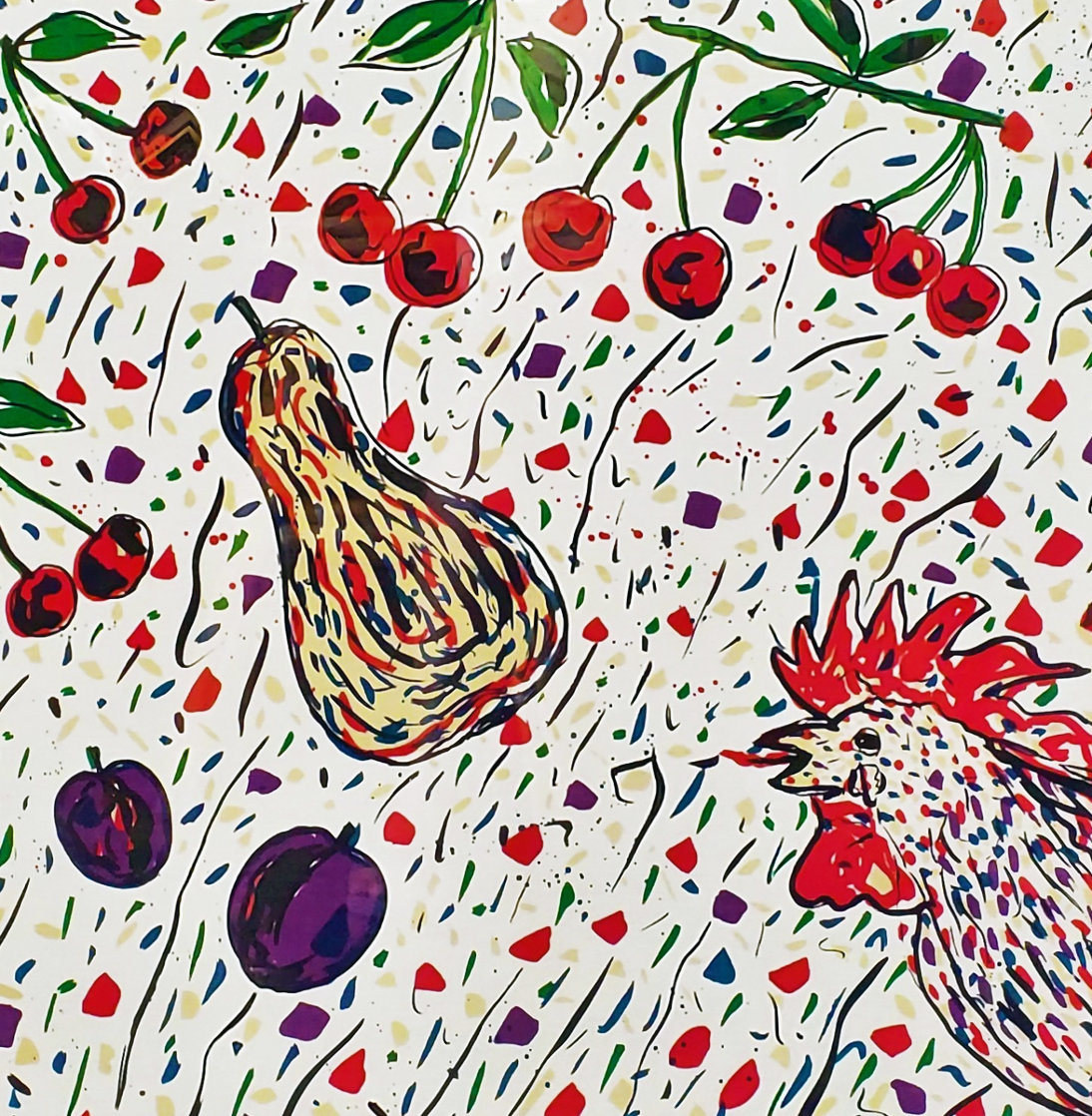 Cock and Cherries 1990 Limited Edition Print by Italo Scanga