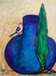Bird on Blue Jar With Italian Cypress 1992 30x28 Original Painting - Italo Scanga