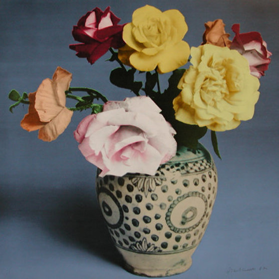 Roses and Poppies in Spotted Vase, Blue State 1987 Limited Edition Print by Francesco Scavullo