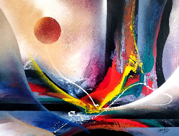 Sunrise Explosion 1992 58x81 Original Painting - Roy Schallenberg