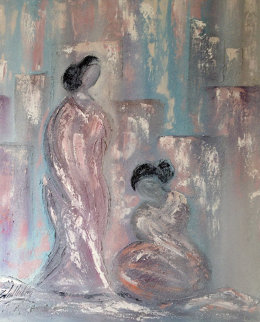 Untitled, Figures of 2 Women 1987 70x60 Original Painting - Roy Schallenberg