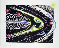 Space Traveler Hand Painted Monoprint 2011 45x55 Works on Paper (not prints) by Kenny Scharf - 1