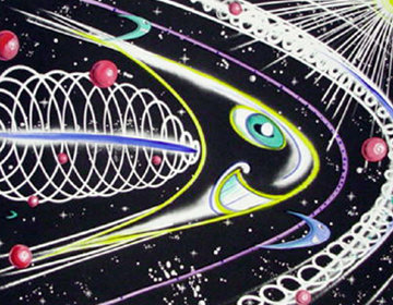 Space Traveler Hand Painted Monoprint 2011 45x55 Works on Paper (not prints) - Kenny Scharf