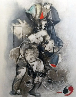 Untitled Early Painting 1983 46x33 Original Painting - David Schluss