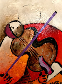 Solo Note 2008 25x21 Original Painting - David Schluss
