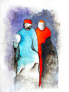 Two People 1990 40x25 Works on Paper (not prints) - David Schluss