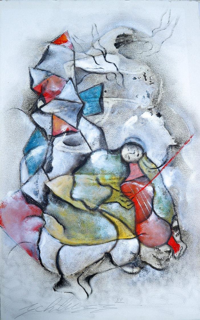 Le Violoniste 1989 40x25 Original Painting by David Schluss