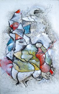 Le Violoniste 1989 40x25 Original Painting - David Schluss