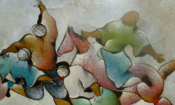 Figures With Horse 1993 30x55 Original Painting by David Schluss