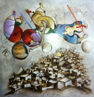 Music Over Jerusalem 2005 75x74 Original Painting by David Schluss