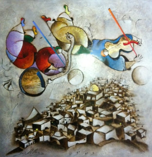 Music Over Jerusalem 2005 75x74 Original Painting by David Schluss