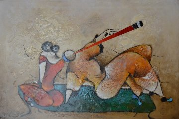 Bench Flute 2005 31x43 Original Painting - David Schluss