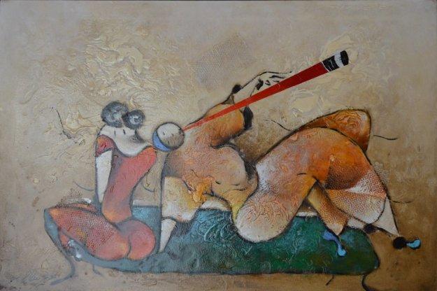 Bench Flute 2005 31x43 Original Painting by David Schluss