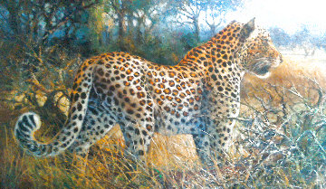 Leopard in the Vineyards 1996 35x20 Original Painting - Bill Schmidt