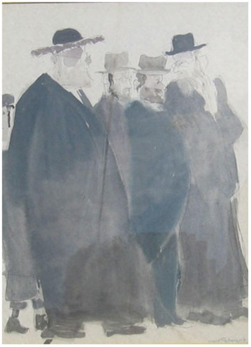 Untitled (Five Jewish Gentlemen) Watercolor 30x16 Watercolor by David Schneuer