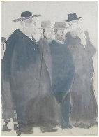 Untitled (Five Jewish Gentlemen) Watercolor 30x16 Watercolor by David Schneuer - 0