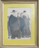 Untitled (Five Jewish Gentlemen) Watercolor 30x16 Watercolor by David Schneuer - 1