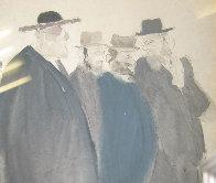 Untitled (Five Jewish Gentlemen) Watercolor 30x16 Watercolor by David Schneuer - 3