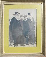 Untitled (Five Jewish Gentlemen) Watercolor 30x16 Watercolor by David Schneuer - 4