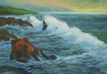 Early Morning Surf 24x36 Original Painting - Michael Schofield