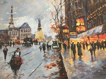 Flower Seller  2014 32x25  Original Painting - Michael Schofield