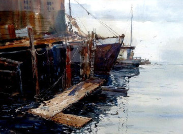 Maine Harbour Watercolor 36x46 Watercolor - Michael Schofield