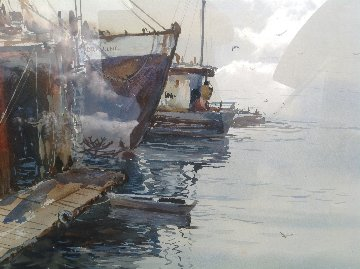 Maine Harbour Watercolor  36x46 Original Painting by Michael Schofield