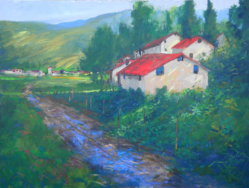 Country Road in Tuscany 2007 30x40 Super Huge Original Painting - Michael Schofield