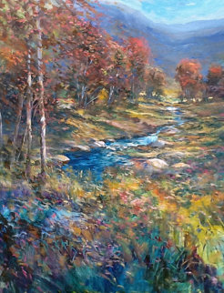 Untitled Autumn Landscape 55x43 Original Painting - Michael Schofield
