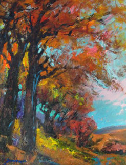Blue Autumn Skies 27x23 Original Painting by Michael Schofield