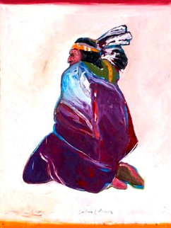 Sitting Indian 1977 40x30  Original Painting by Fritz Scholder
