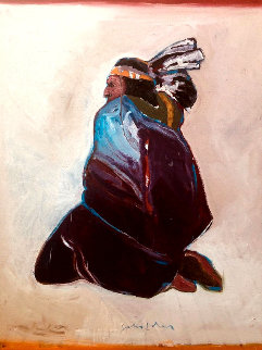 Sitting Indian 1977 40x30  Original Painting - Fritz Scholder