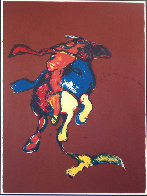 Indian on Galloping Horse After Remington #2, Third State 1976 Limited Edition Print by Fritz Scholder - 2