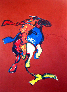 Indian on Galloping Horse After Remington #2, Third State 1976 Limited Edition Print - Fritz Scholder