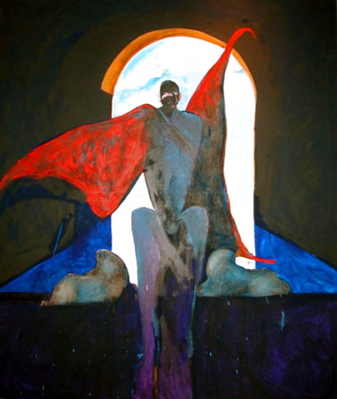 Possession With Clouds 1989 82x70 Super Huge Original Painting by Fritz Scholder