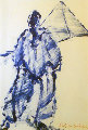 Arab and the Great Pyramid (early 1977) Egypt Original Painting - Fritz Scholder