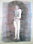 Mystery Woman Series, #2 Monotype 1990 41x30 Works on Paper (not prints) - Fritz Scholder