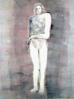 Mystery Woman Series, #2 Monotype 1990 41x30 Works on Paper (not prints) by Fritz Scholder - 1