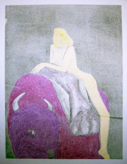Buffalo Interior Monotype 1986 Works on Paper (not prints) by Fritz Scholder